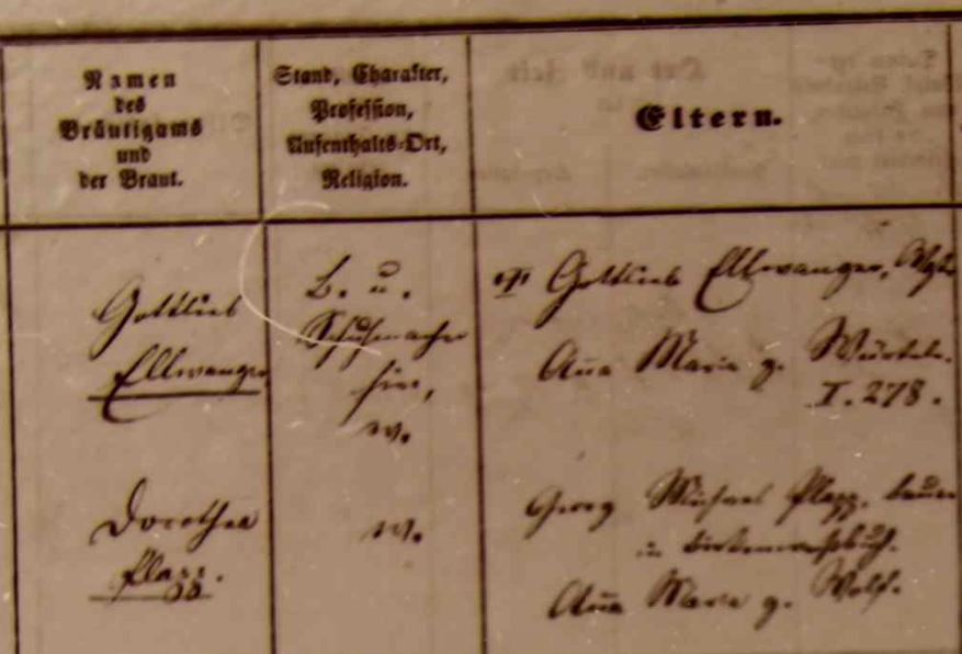 marriage record Großheppach, 1877